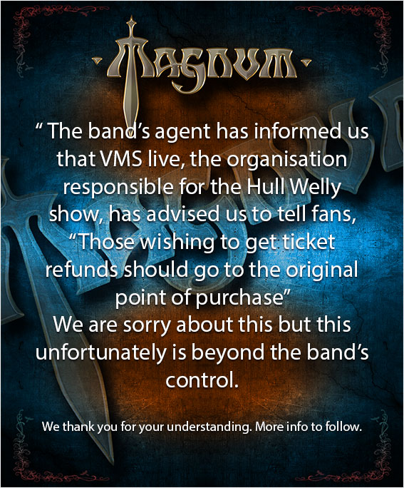 Refund information for the show on 11/12/20 (Hull, Welly)